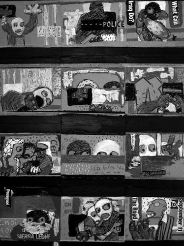 Piniang, No War, No News, 2005, acrylique sur toile (détail)