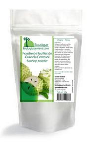Achetez de la poudre de Graviola Corossol sur la boutique Biologiquement.com CLIQUEZ sur le sachet