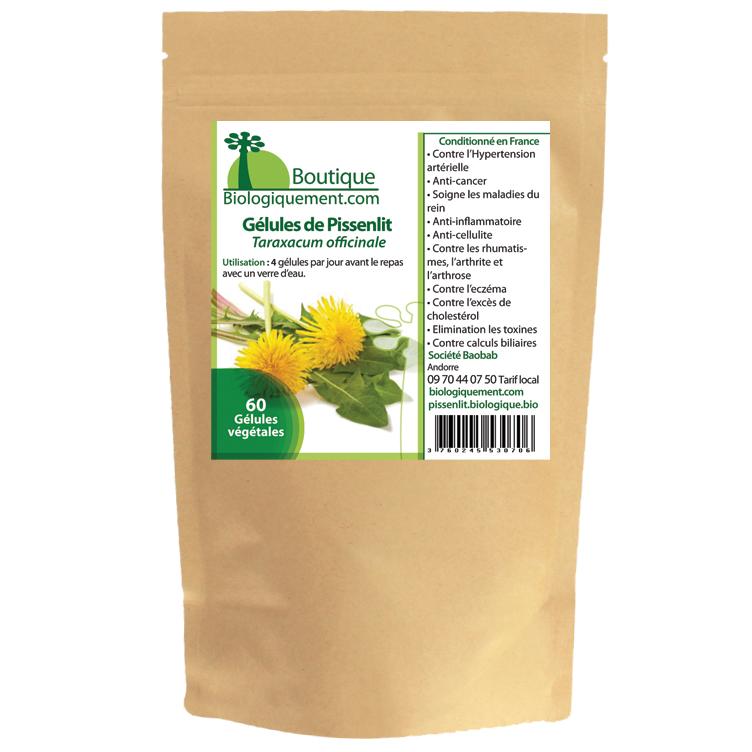 Acheter sur la boutique Biologiquement.com de la racine de pissenlit bio ou dent de lion bio en gélules pour le traitement naturel du cancer